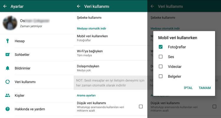 WhatsApp'ta otomatik medya indirme