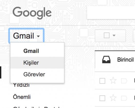 rehberin gmail ile senkronize edilmesi