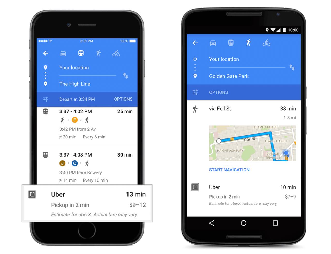 Google Uber Rezervasyon