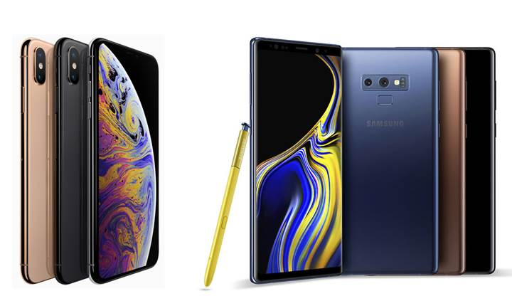 Samsung Note 9 ve iPhone Xs