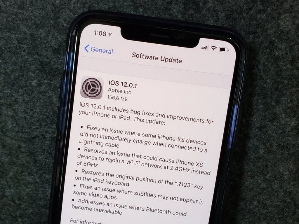 iOS 12.0.1 sürümü