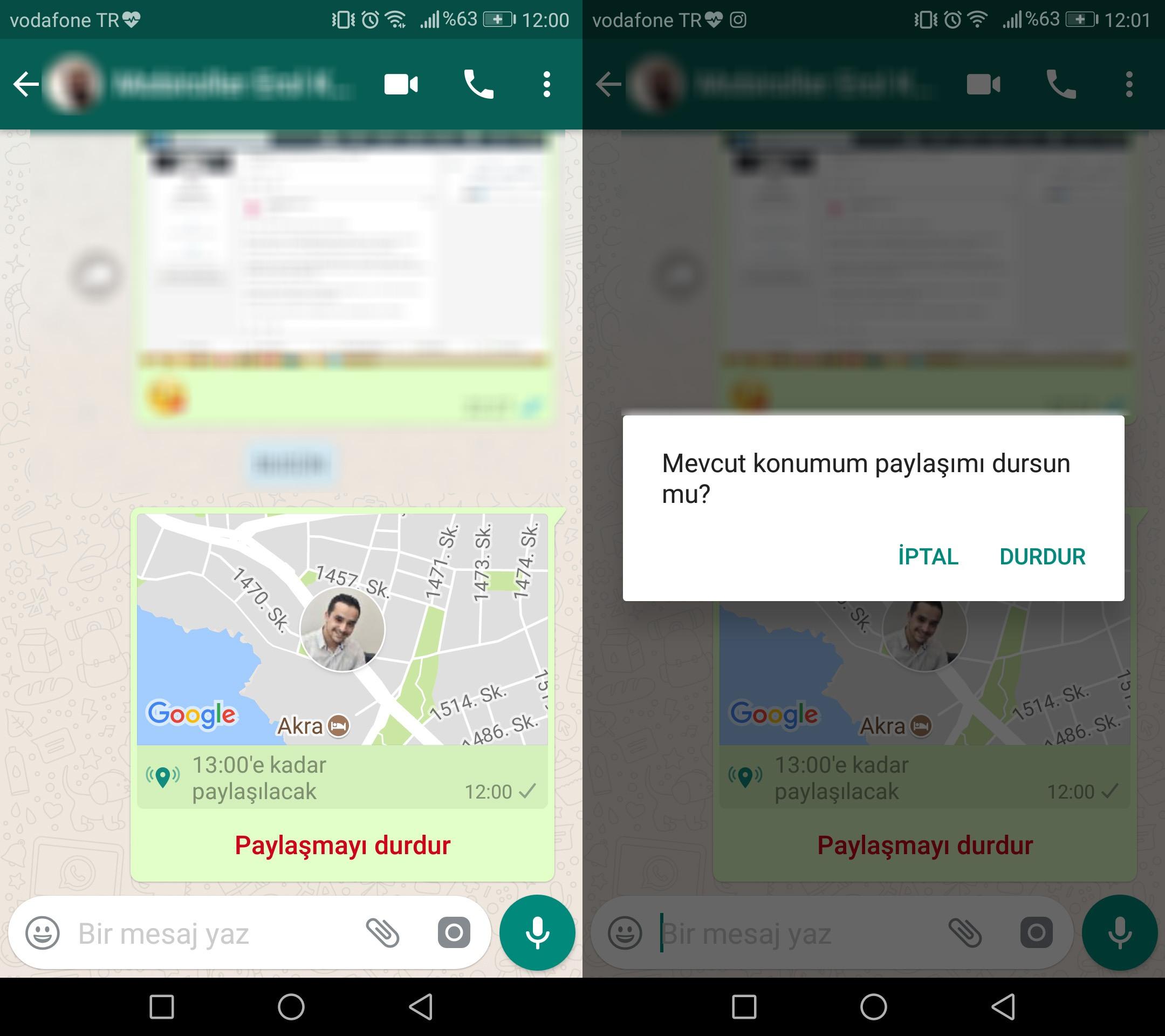 WhatsApp Canlı Konum Özelliği